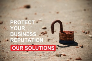 Padlock on a beach, protect your business reputation, link to our solutions