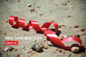 Red tape blowing in the wind, Red Tape Busters, link to about us