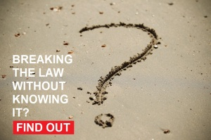 Question mark written in the sand, breaking the law without knowing it? find out more by clicking the image link to business MOT