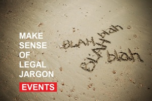 The words blah blah blah written in the sand, making sense of legal jargon click to our events
