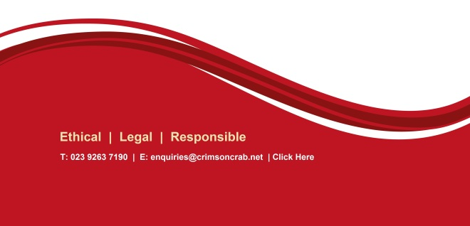 Crimson Crabs wave for ethical, legal and responsible trading, telephone 02392637190, email enquiries@crimsoncrab.net or click here to contact us